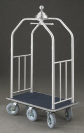 "6 Wheel Premium Ball Crown Bellman Cart 2"" Tubing #7660 Satin Aluminum"