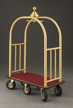 "6 Wheel Signature Series Bellman Cart 1 1/2"" Tubing #8868 Satin Brass"
