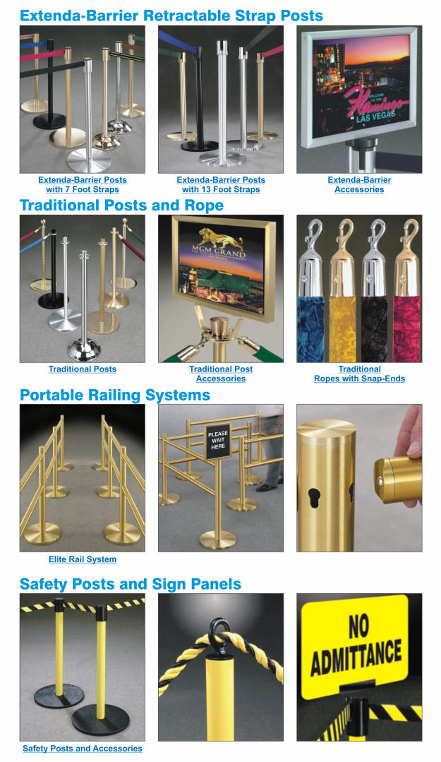 Crowd Control Products, Crowd Control Queuing Systems, Stanchions and Ropes, Retractable Strap Crowd Control Posts