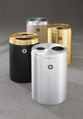 RECYCLEPRO 2 DUAL STREAM RECYCLING RECEPTACLES WITH TWO HOLES