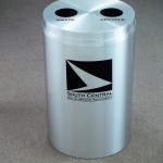 Custom Metal Waste Receptacle With Company Logo and Messaging
