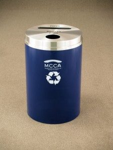 Dual Purpose Powder Coat Finished Custom Recycling Waste Receptacle by Glaro Inc.