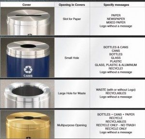 hole openings recycling receptacles