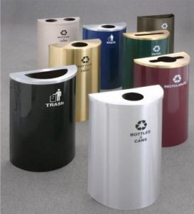 "18"" Wide - 14 and 16 Gallon Capacity Half Round Recycling Receptacles"