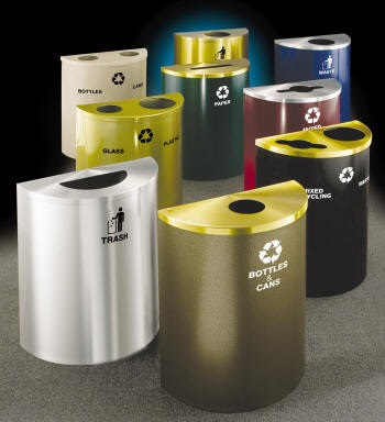 "24"" Wide - 24 and 29 Gallon Capacity Half Round Recycling Receptacles"
