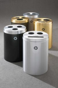 "Glaro ""Recycle-Pro 3"" Triple Stream Recycling Receptacles"