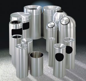 The New Yorker Satin Aluminum Waste Receptacles